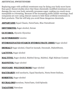 artificial-sweeteners-list