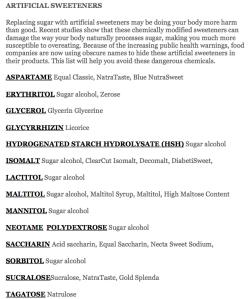 artificial-sweeteners-list